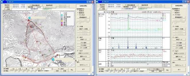 地すべり計測・監視システム画面(例)